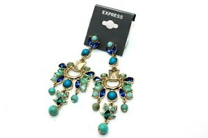 NEW EXPRESS EARRINGS SEMI PRECIOUS GEMS WITH DIAMOND STONES: GOLD