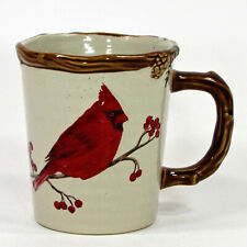 St. Nicholas Square SNOW VALLEY 16oz Mug Cup Cardinal Berry Pine Cone Embossed