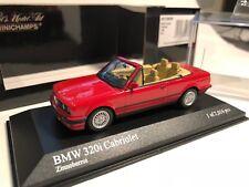 1/43 Minichamps BMW E30 320i Cabrio 1989 Zinnober Red/Black LE 1/2016 MEGA Rare!