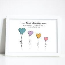 PERSONALISED FAMILY HEART PRINT- Gift for Mum Mummy Nan Wife Girlfriend Birthday