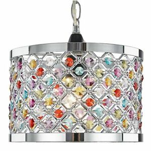 Modern Sparkly Ceiling Pendant Light Shade with Multi-Coloured Beads by Happy...