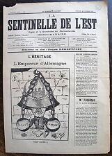 LA SENTINELLE DE L'EST. journal du 25 decembre 1887. Organe de la revendication