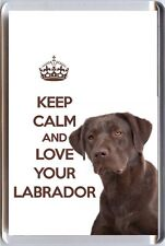 KEEP CALM and LOVE YOUR LABRADOR image of a BROWN Labrador DOG Fridge Magnet