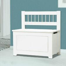 White Wooden Bench Toy Chest Ottoman Blanket Storage Box Trunk Seat  Towel Unit