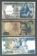 Portugal ✨ 1965 1980 1988 ✨  100 Escudo x 3 notes ✨ Collections & lots #5657