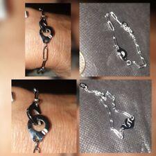 Bracelet Maille Large Double Menotte Entrelacées 👍Qualité Argent Acier Réf Din5