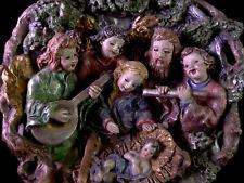 entzückende Keramik  WEIHNACHTSKRIPPE - Relief Künstlerarbeit Bozener Stil - alt