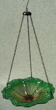 "Bird Feeder Bath 2 toned Green Glass NEW hanging 11 1/2"" diameter"