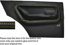 YELLOW STITCHING 2X REAR DOOR CARD SKIN COVERS FITS FORD ESCORT MK2 2 DOOR COUPE