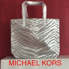 MICHAEL KORS GLAMOROUS GOLD SILVER TIGER PRINT CANVAS TOTE BAG HANDBAG NEW!!!