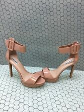 Steve Madden CIRCUIT Beige Patent Leather Ankle Strap High Heels Women Size 10 M