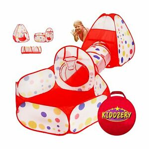 Kiddzery 3pc Kids Play Tent Crawl Tunnel and Ball Pit with Basketball Hoop – ...