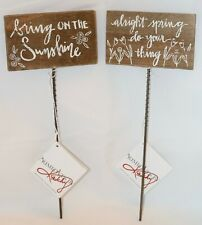 Primitives By Kathy Spring Garden Pick Signs Set 2 Rustic Wood Decor
