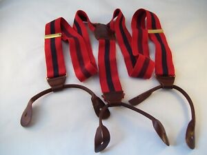 CAS Suspenders Adjustable Leather Button On Braces Brass W Germany Red Stripe