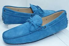 New Tod's Mens Blue Shoes Lace Mocassin Loafers Drivers Size 12 Suede