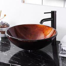Bathroom Artistic Tempered Glass Round Vessel Sink Vanity Hotel Washroom Basin