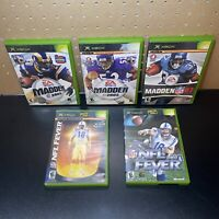 5 Game Lot-Madden NFL 03,05,07 & NFL FEVER 2002 & 2004 (Microsoft Xbox)Free Ship