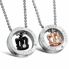 2PCS Titanium Steel Crown His and Her Promise Matching Love Couple Necklace Set