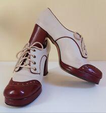 Authentic Vtg 60s / 70s Brown & White Leather Platform Saddle Shoes Sz 8 Gaymode