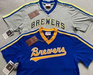 Mitchell & Ness Milwaukee Brewers Cooperstown Retro V-Neck Jersey shirt men MLB
