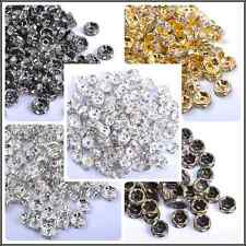 Quality Czech Crystal Rhinestone Silver Rondelle Spacer Beads 4/5/6/7/8/9/10MM