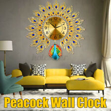 3D Large Wall Clock Luxury Peacock Metal Living Room Wall Watch Home