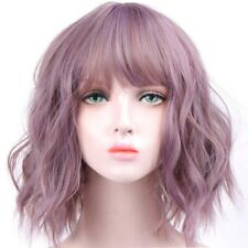 Short Wavy Wigs Synthetic Pink Hair Purple Wigs Bangs Heat Resistant Cosplay Wig