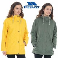 Trespass Womens Rain Jacket Waterproof Hooded Rain Coat Yellow & Green