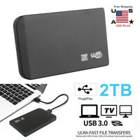 "Portable 2TB USB 3.0 2.5"" External Hard Drive Disks HDD Slim Black For Laptop PC"