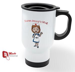 PERSONALISED Travel Thermal Mug 14oz - Nurse Gift- Any Name