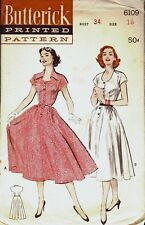 Vintage 1950s Butterick 6109 Full Skirt Dress Pattern 34B sz 16 Unct
