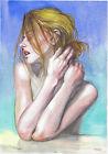 original painting A3 587ShA art samovar modern Watercolor female portrait nude