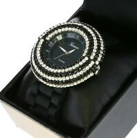 Cute Ladies 6 Rows Iced Out Crystal Bezel Quartz Watch With Silicone Band
