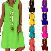 Womens Summer Beach Sundress Ladies Sleeveless Tank Top Loose Midi Dress S-5XL