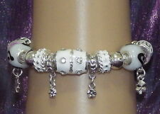 New 925 Sterling Silver Filled, White Enamel and Crystal Fashion Charm Bracelet