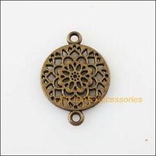20 Nuevo Flor Redonda Conectores de tono de bronce envejecido Encantos Colgantes 14x20mm