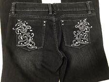WHBM Black Straight Leg Jeans Noir, Sz 4R Bling Embellished EUC