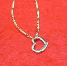 9 1/2 Inch 14Kt Gold Ep 2Mm Figaro Anklet With Floating Heart