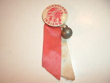 """1940's Cleveland Indians Chief with Ribbons & Ball Charm 1.25"""" Pin Back Pinback"""
