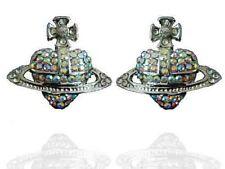 Costume Jewellery Crystal Silver Orb Stud Earrings Saturn Cross Studs E79