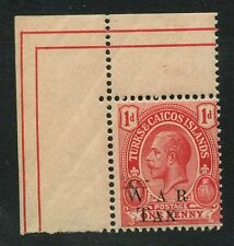 TURKS + CAICOS ISLANDS 1917-19 KG5 VARIETY DOUBLE LETTER W...DATED CORNER PIECE