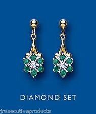 Emerald and Diamond Earrings Yellow Gold emerald Drop Earrings Cluster earrings