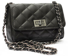 Black Made in Italy GENUINE LEATHER  Handbag Quilted Shoulder bag Cross Body