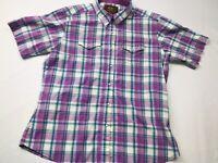 Aura by Wrangler Womens JunIors Short Sleeve Pearl Snap Western Shirt Sz M Plaid