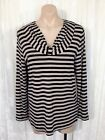 BLUE ILLUSION SIZE L LONG SLEEVE STRIPED TOP AS NEW