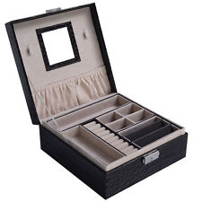 Jewelry Box Storage Organizer Case Ring Earring Necklace Mirror PU Coffee New