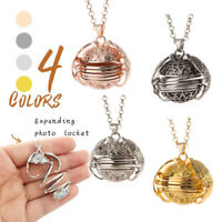 Men Women Expanding 4 Photo Angel Wing Locket Pendant  Necklace Memory Gift
