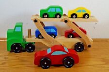 7 Pc Melissa & Doug Lot Wood Car Carrier Truck + Red Green Yellow Blue Cars 4096