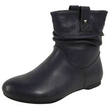 Womens Pixie Rouched Flat Pull on Low Heel Casual Ladies Slouch Ankle BOOTS Size Navy UK 6 / EU 39 / US 8 Synthetic Mid Calf Quality Zip Black Grey Khaki