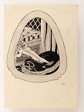 1928 Estonia ART NOUVEAU Original INK Vintage DRAWING  #2
